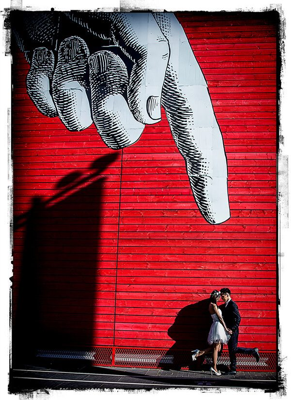 Wedding couple under finger London Southbank medium size