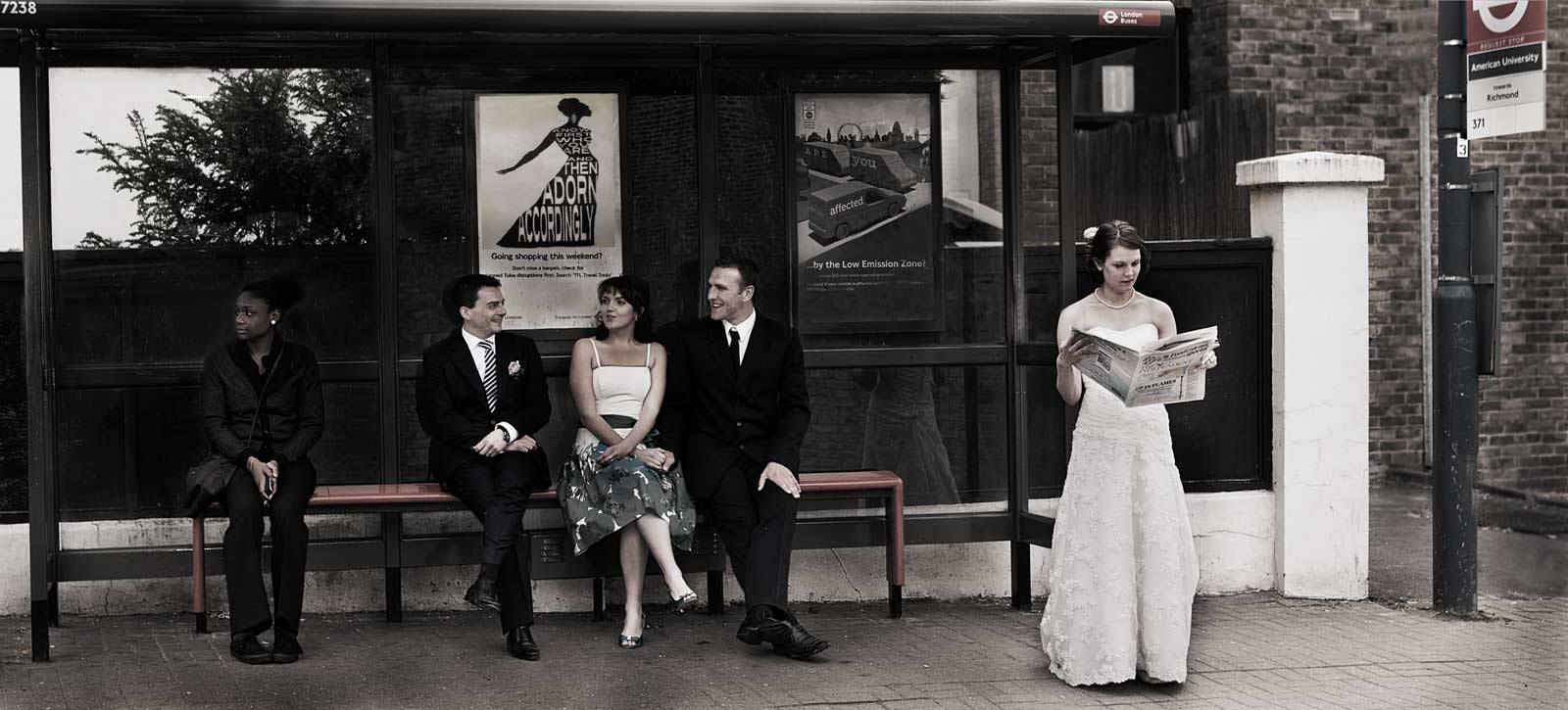 Richmond bus stop wedding shot