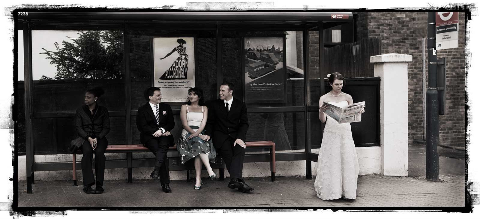 Richmond bus stop wedding image
