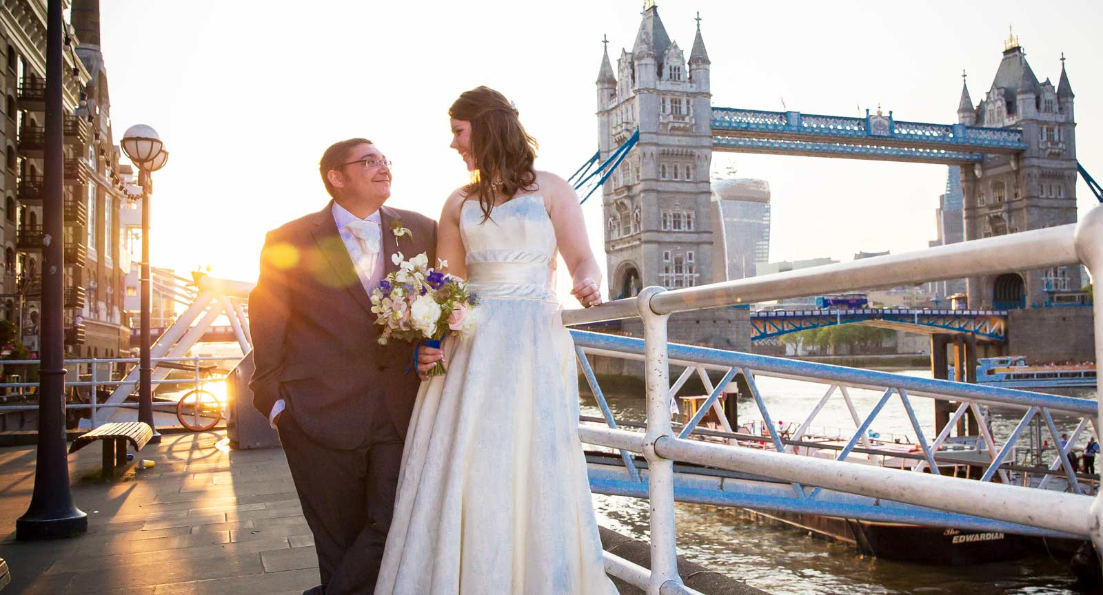 sunset wedding shot at Tower brige