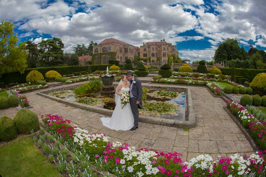 super wide shot at Fanhams Hall wedding