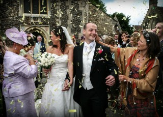 London wedding confetti shot