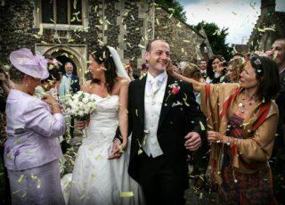 London wedding confetti shot