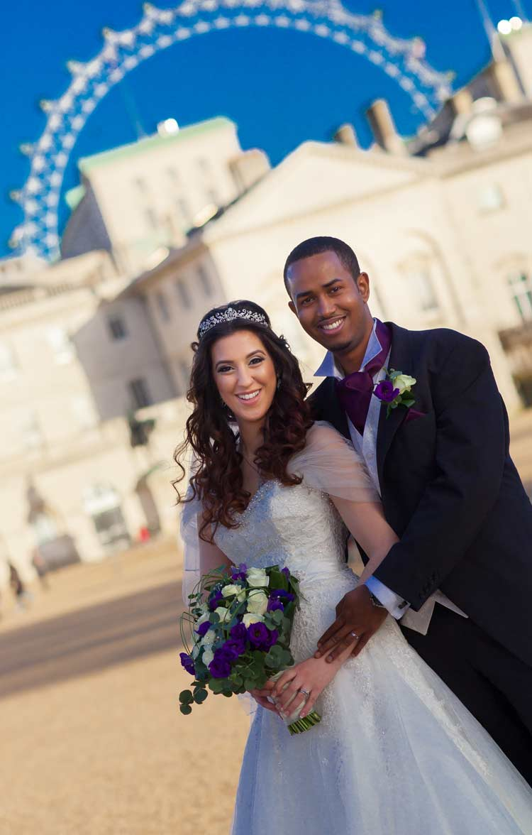 Wedding couple at horse guards parade