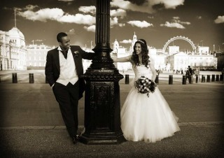 wedding couple in central London