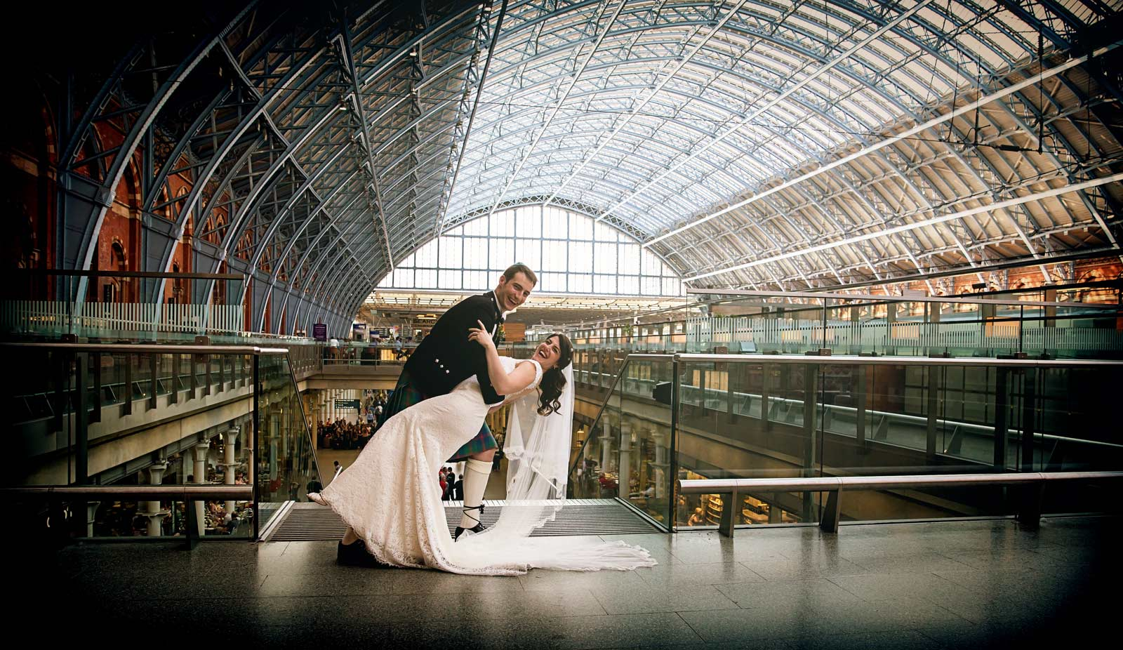 Wedding dance at St Pancras London