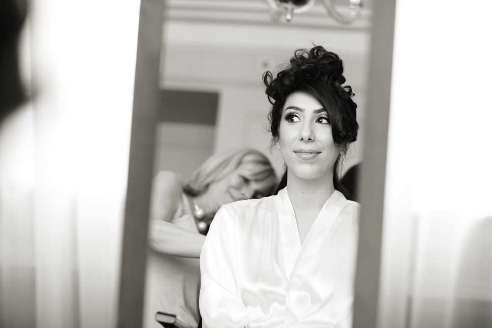Bride getting ready at the Langham