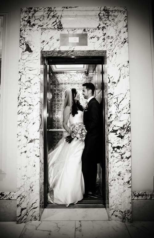 Langham Hotel lift wedding image