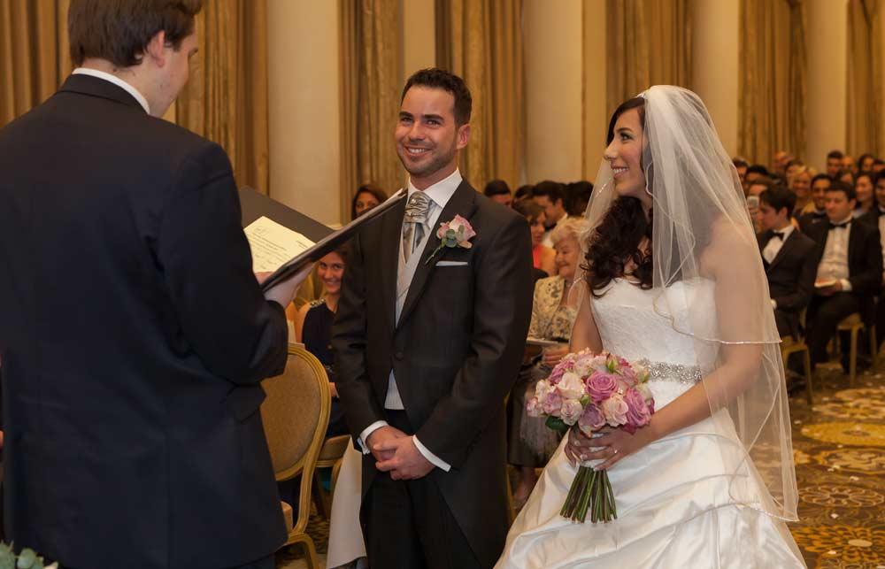 Wedding vows at London Langham