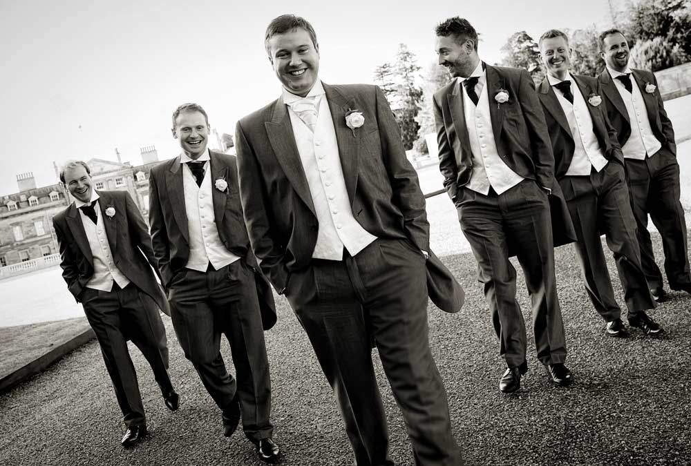 groomsmen photo at Woburn sculpture gallery