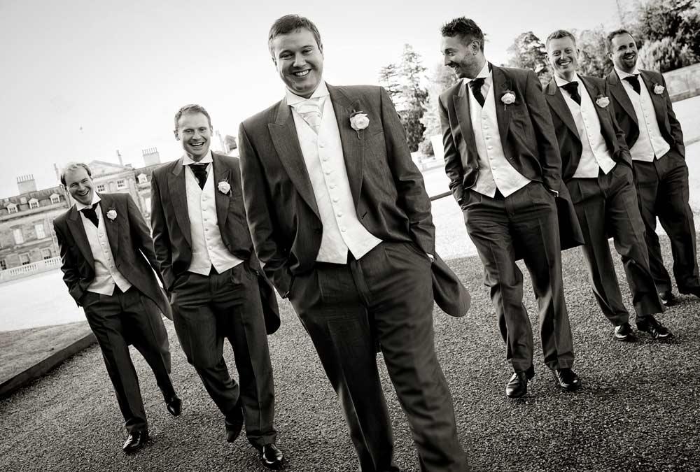 groomsmen photo at Woburn sculpture gallery