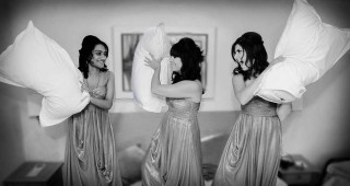 Bridesmaids at Sopwell House wedding pillow fight image