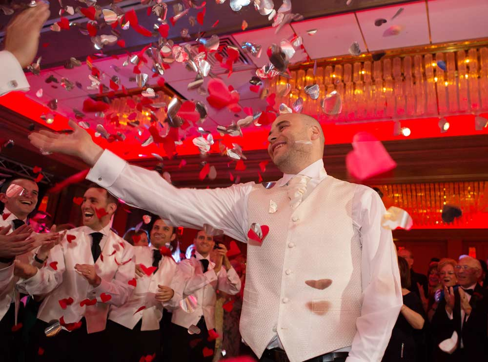 Confetti canon explodes at Sopwell House wedding reception