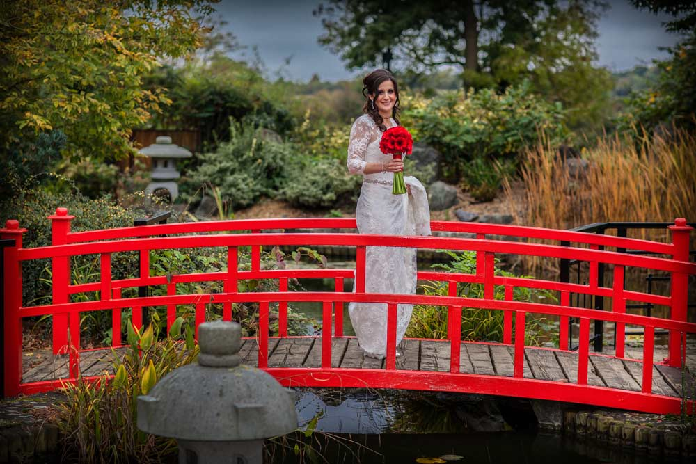 Red bridge shot at Sopwell House wedding