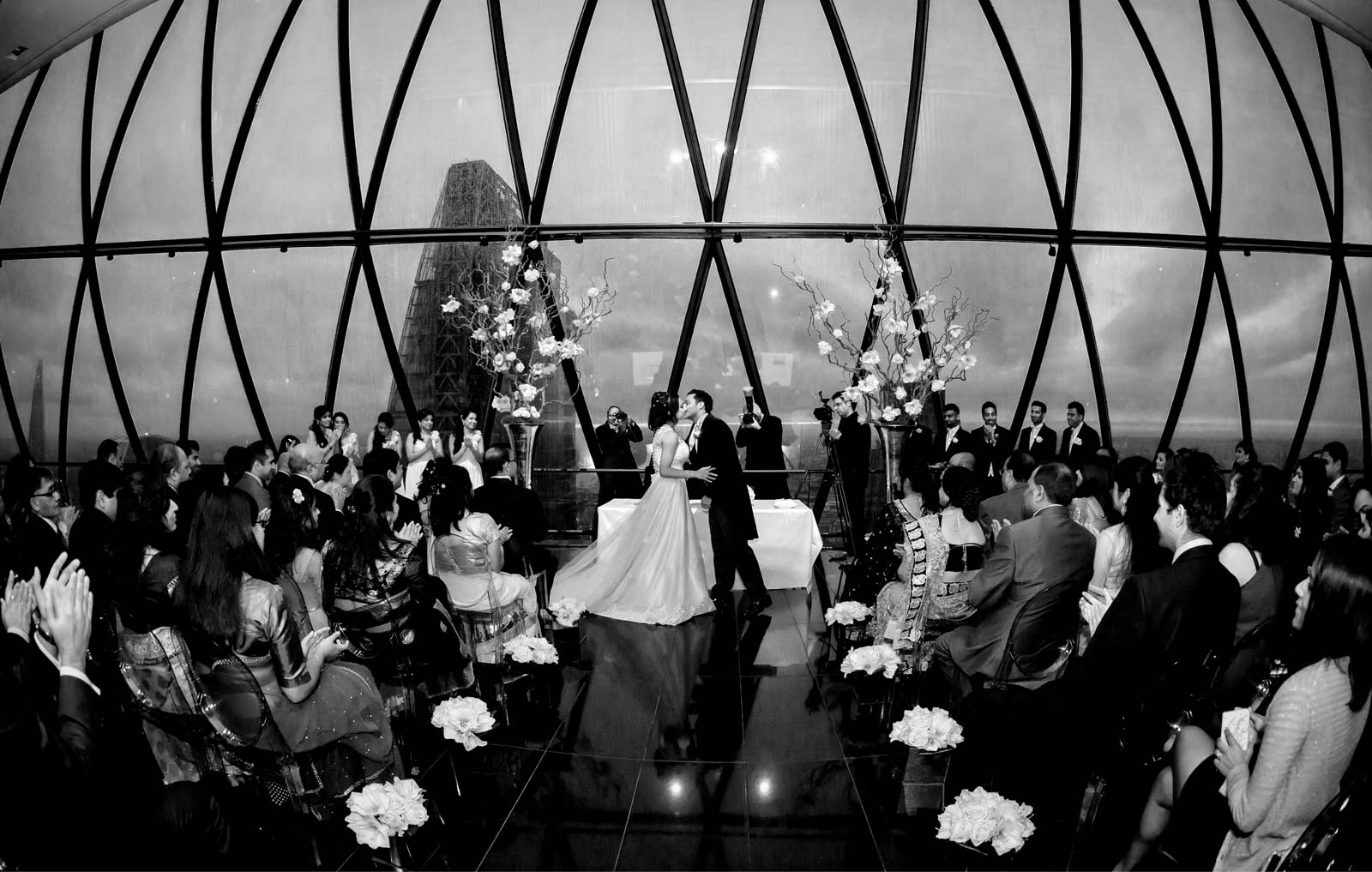 London Gherkin wedding kiss black and white image