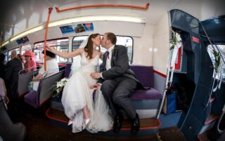 London route master bus wedding shot