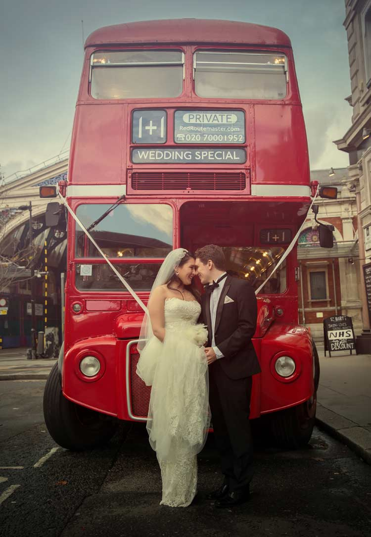London routemaster wedding bus at Smithfield market
