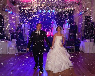 confetti canon at London wedding party