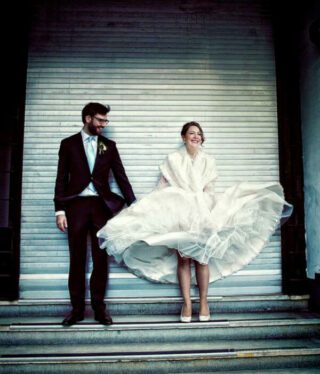 Clerkenwell wedding dress in the wind