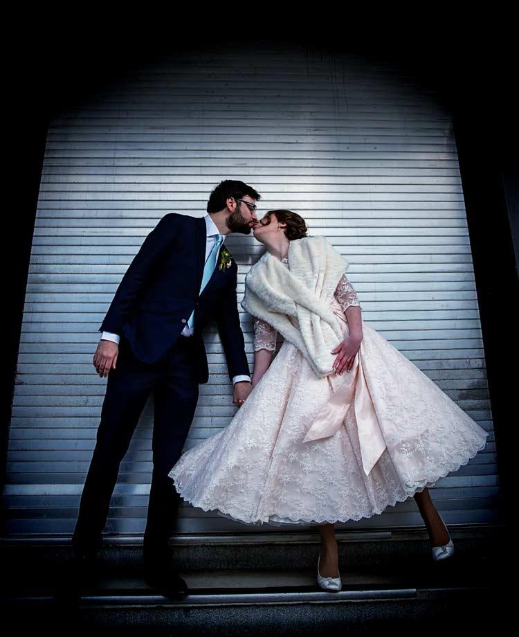 Kissing shot at Farringdon wedding