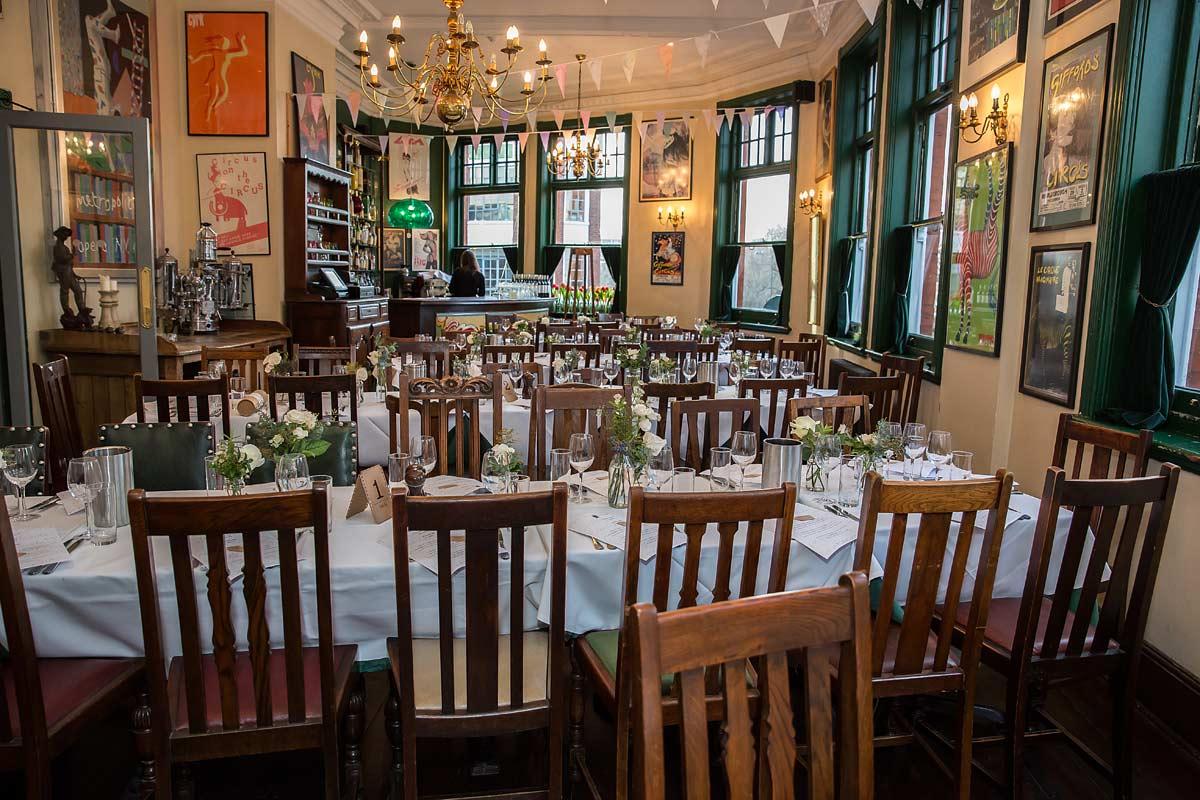 Peasant pub view of wedding reception room