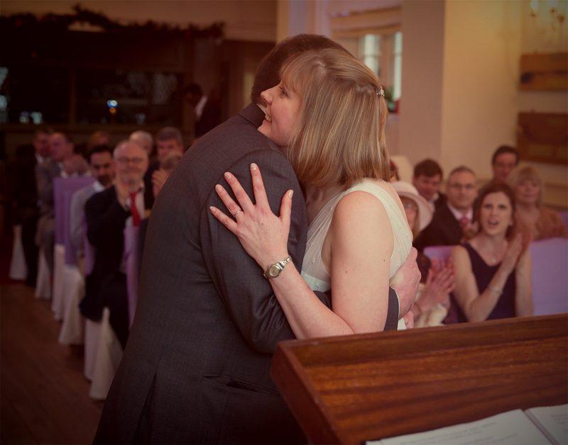 Wedding hugs at Bush hill Golf club