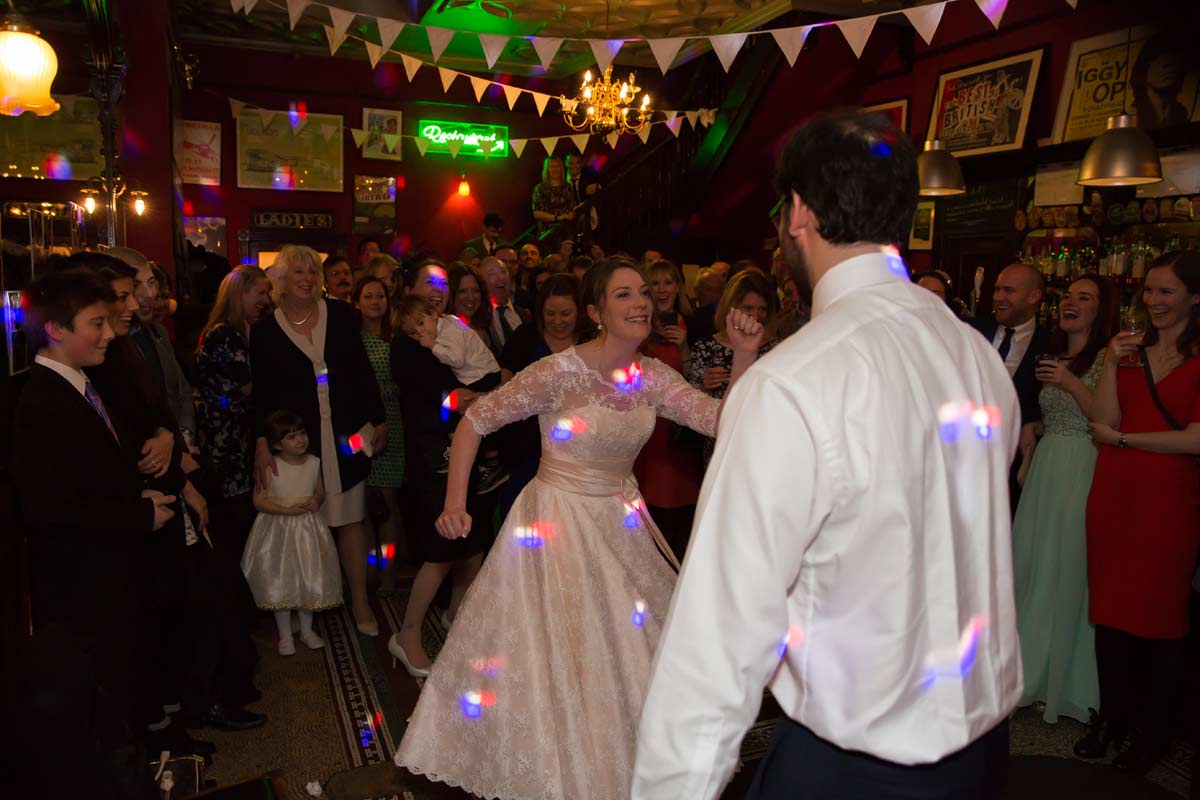 wedding couple dancing at the Peasant pub