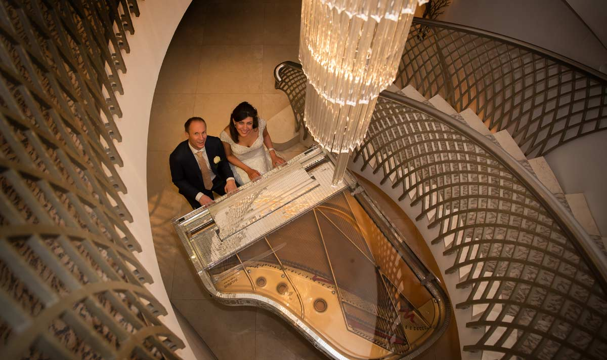 Dorchester Hotel wedding photographer piano image