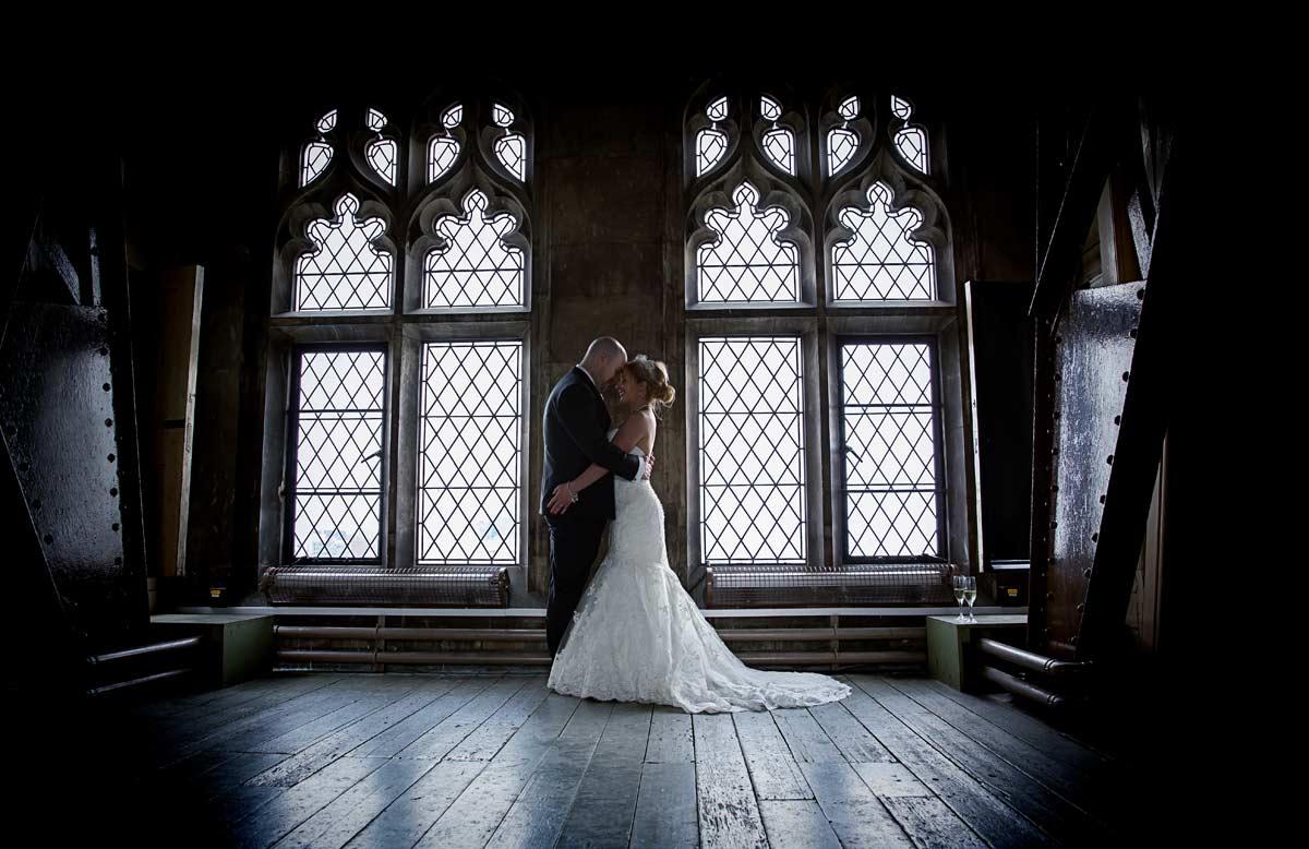 Wedding by windows at London Tower Bridge