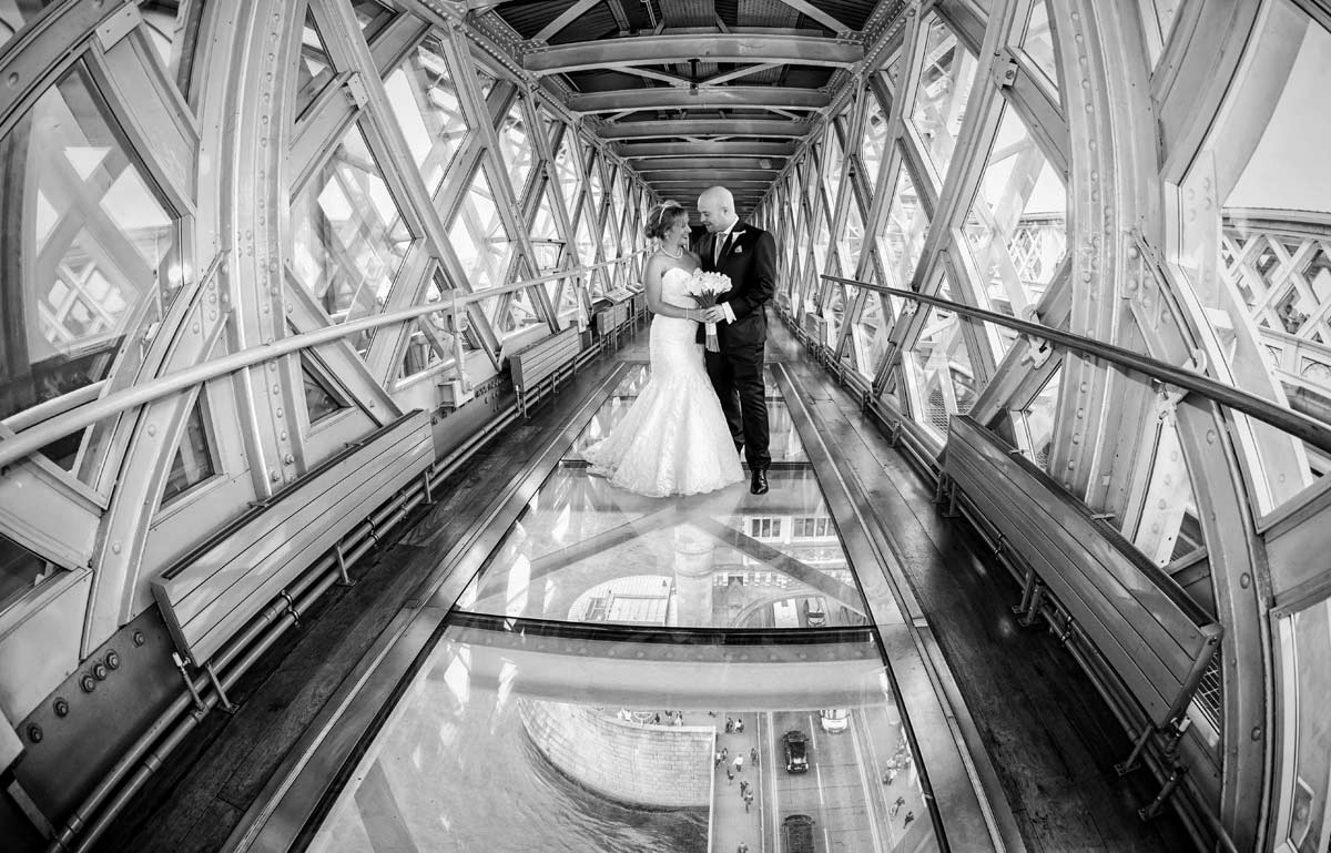 Wedding couple inside Tower Bridge