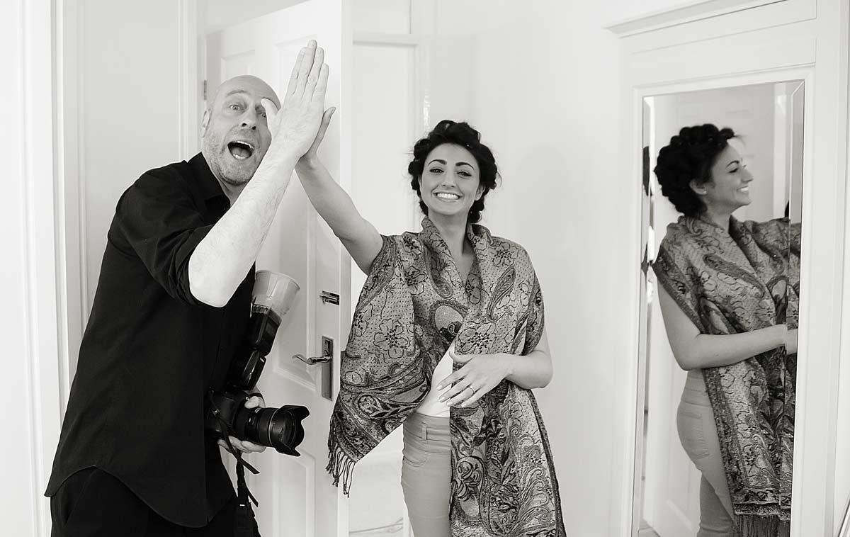 David Green high fives bride image
