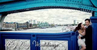 Wedding laughter on Tower Bridge