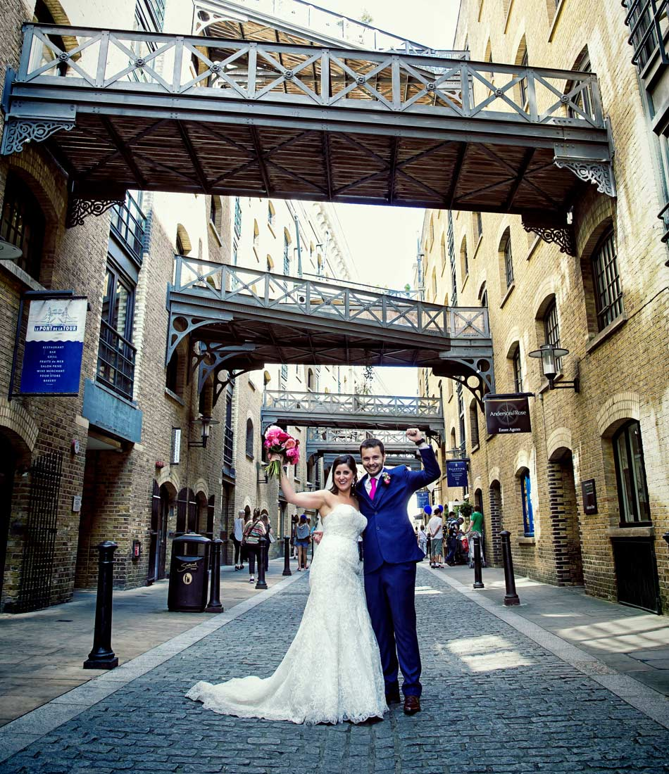 Happy couple at Butlers Wharf Tower Bridge