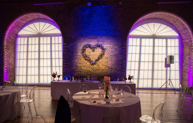 Love heart on wa;; at London wedding reception venue