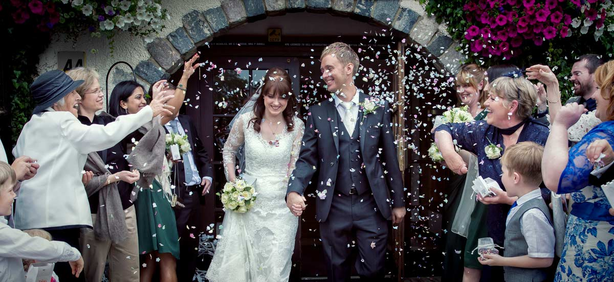 confetti shower wedding couple Royal Chace hotel Enfield