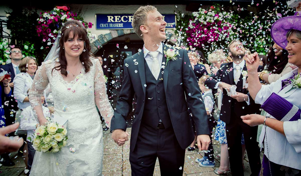 confetti throw at Enfield wedding