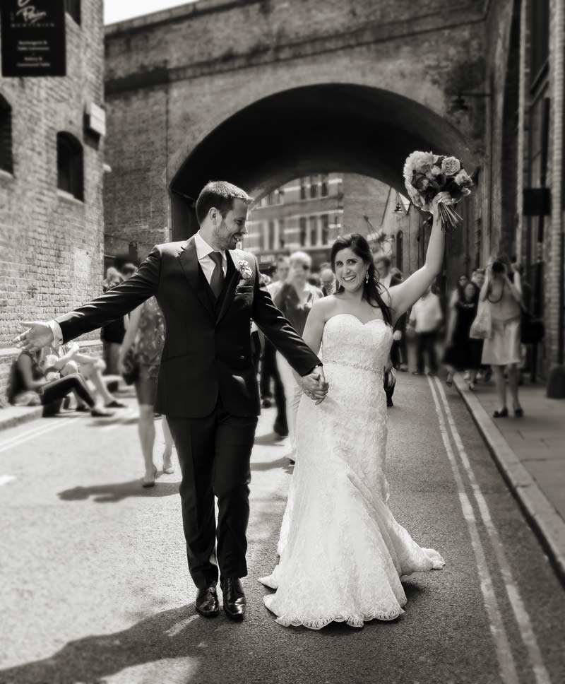 wedding couple Borough Market shot