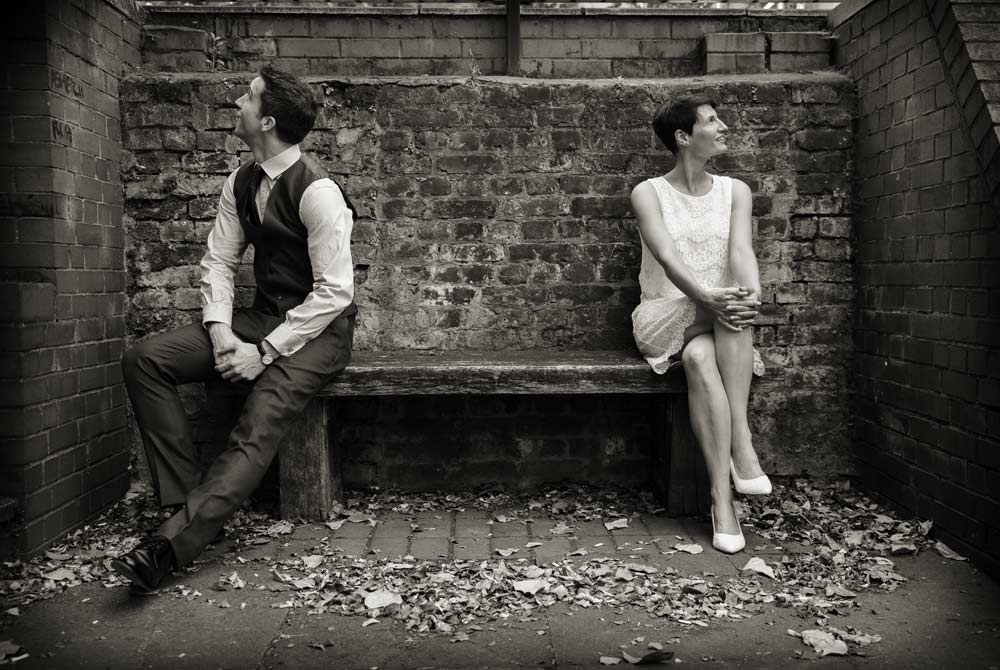 wedding couple on Aldgate bench 2