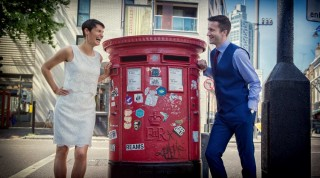 wedding laughter by red London postbox