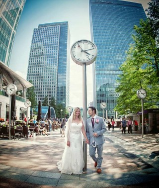 Bride and Groom stood in Canary Wharf photo