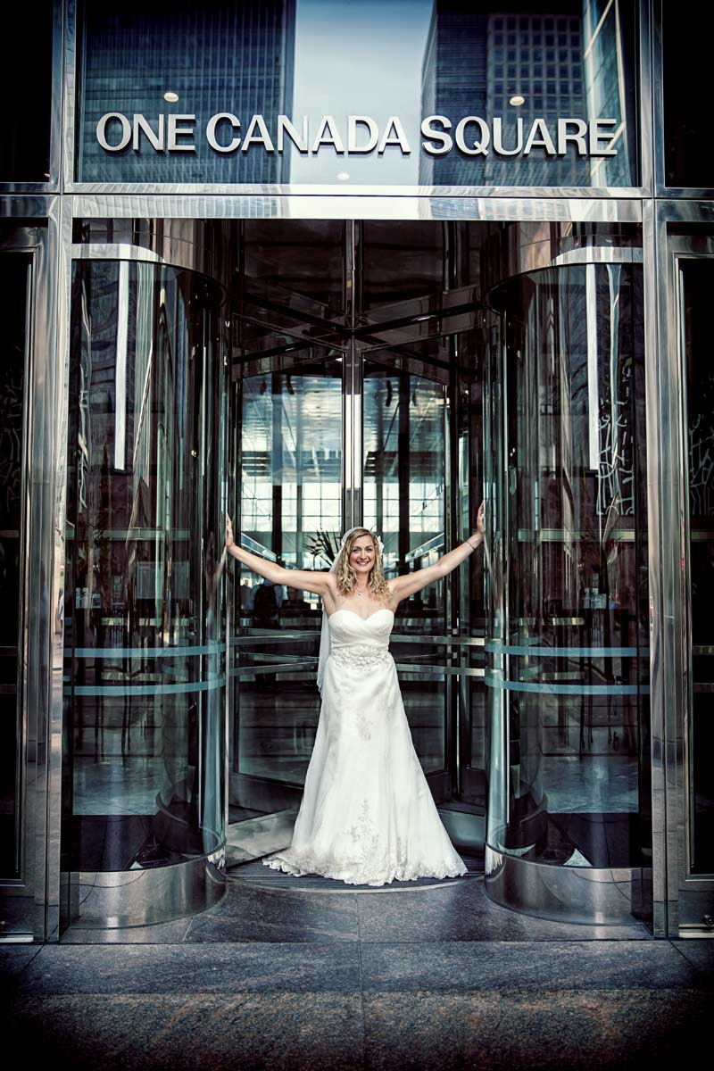 Bride posing at Canary Wharf London wedding image
