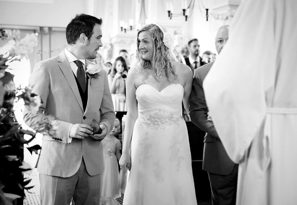 First look between couple at All Saints Blackheath