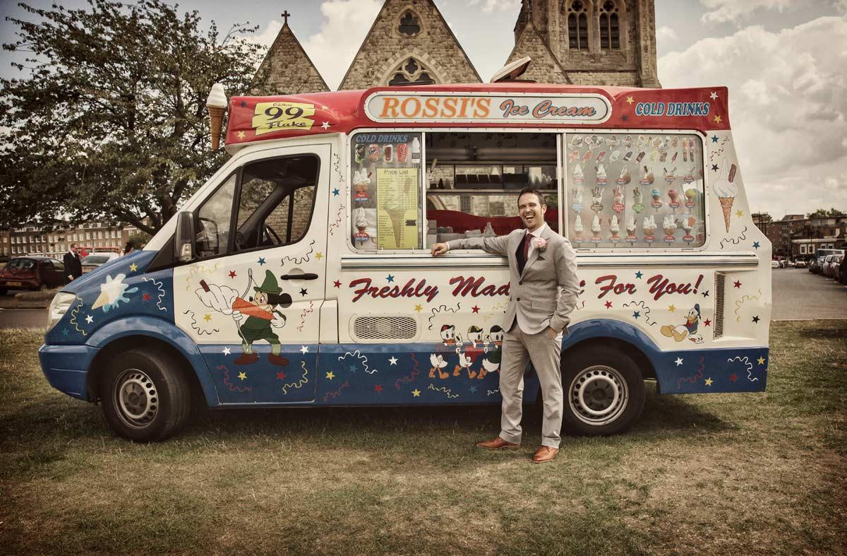 Groom_by_ice_cream_van_Blackheath_wedding_day