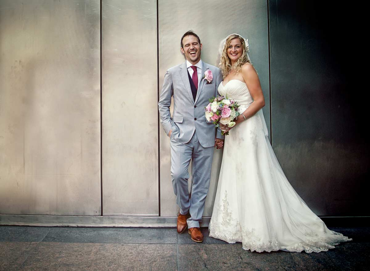 Laughter at Canary Wharf London wedding