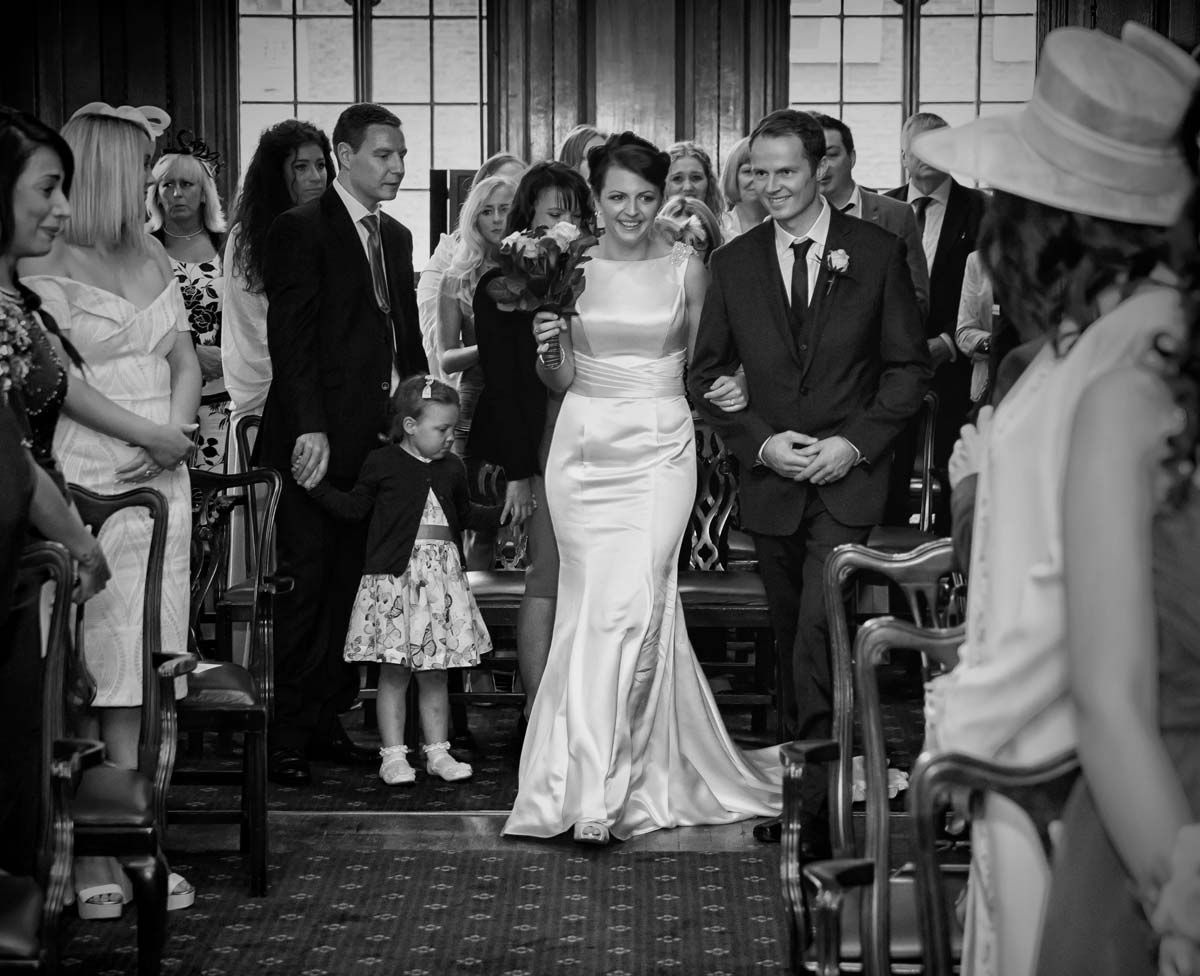 Bride walking down the aisle Camden wedding ceremony