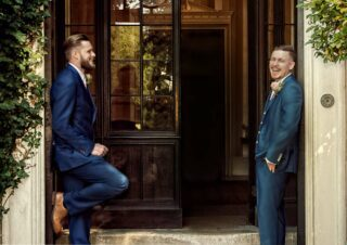 Groom and best man at London wedding photo