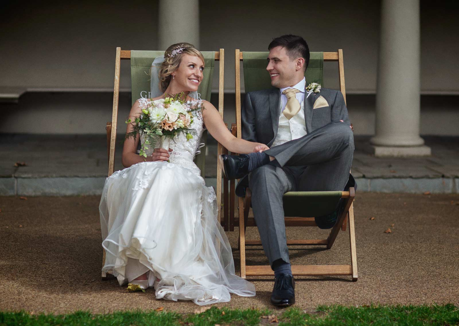 London Belgravia wedding shot on deckchairs