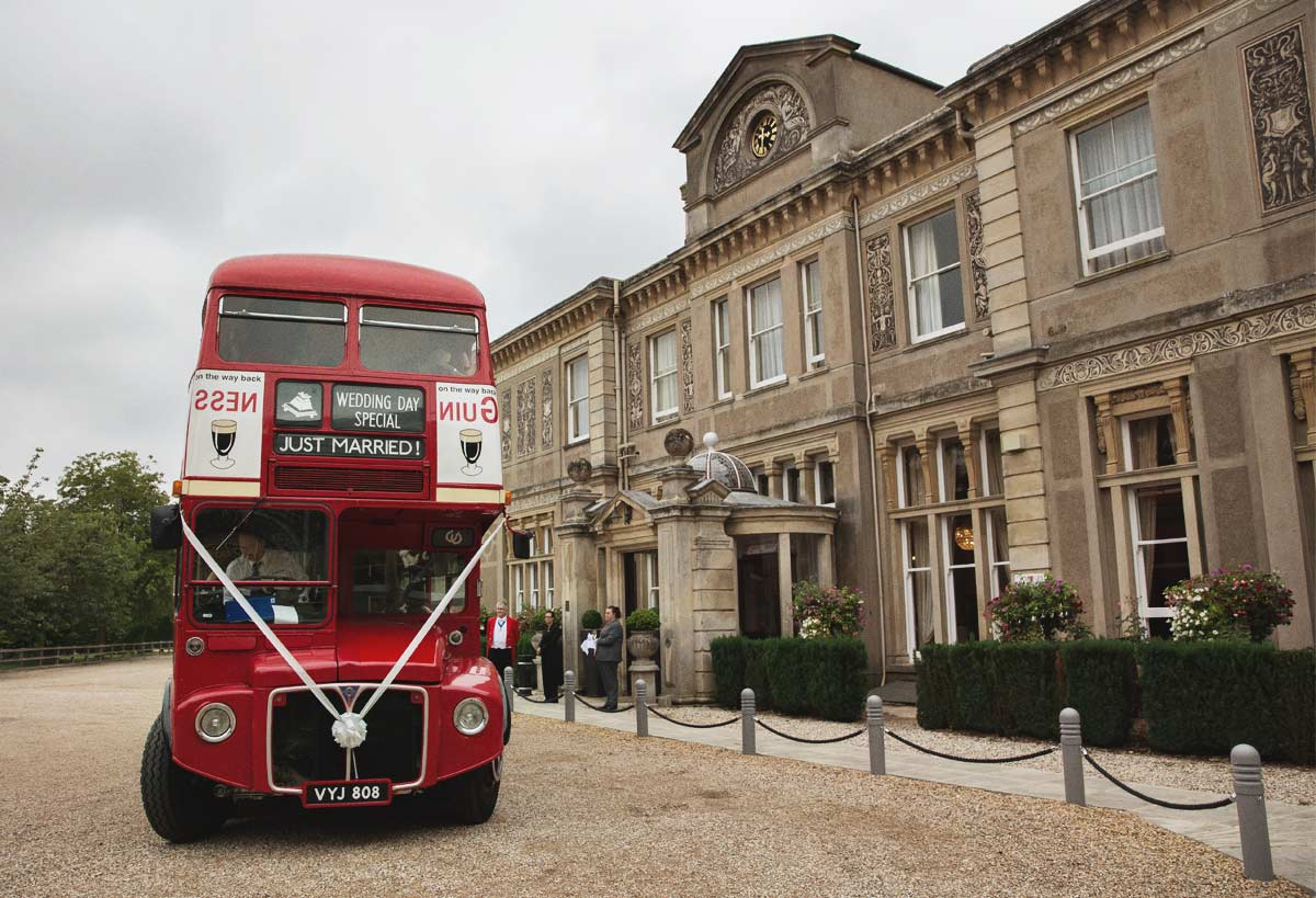 Routemaster bus at Downs Hall Country House Hotel