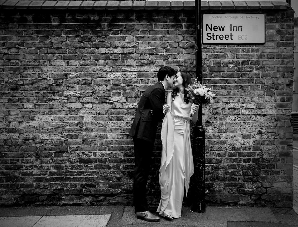 Wedding couple in Hackney Street