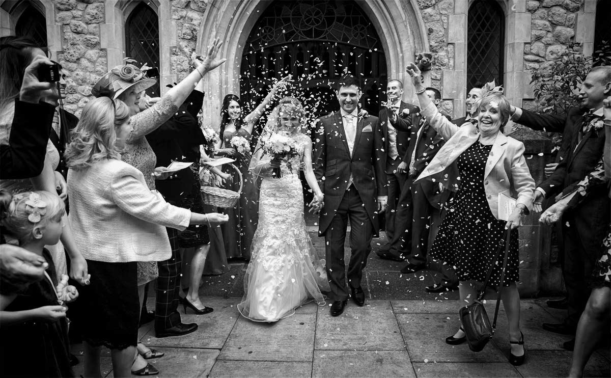 confetti shot from London Islington wedding